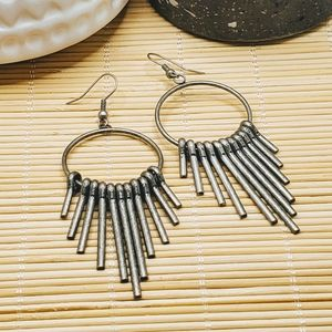Mid Century Modern Style Antiqued Silver Earrings